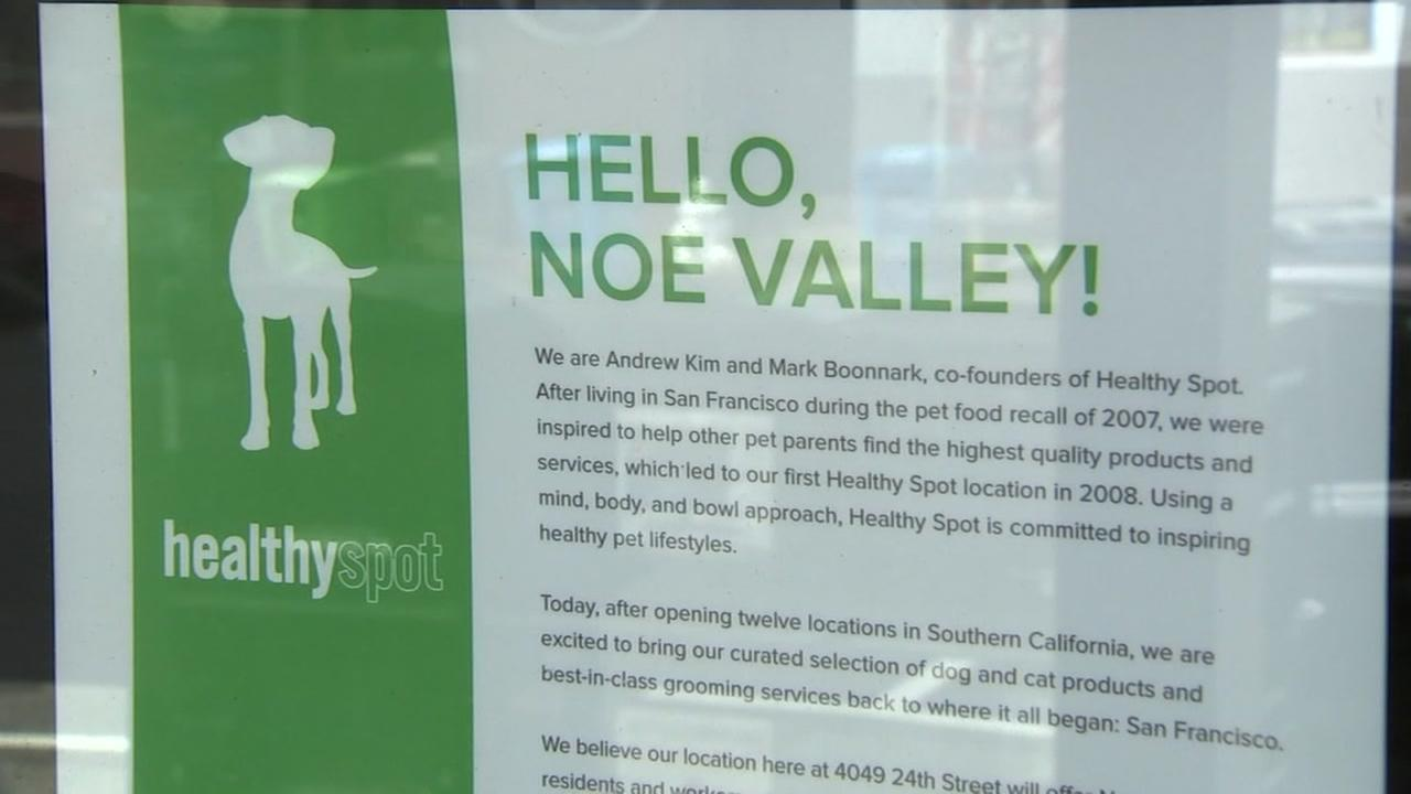 A letter from Healthy Spot is seen on a storefront window in San Francisco in this undated image.