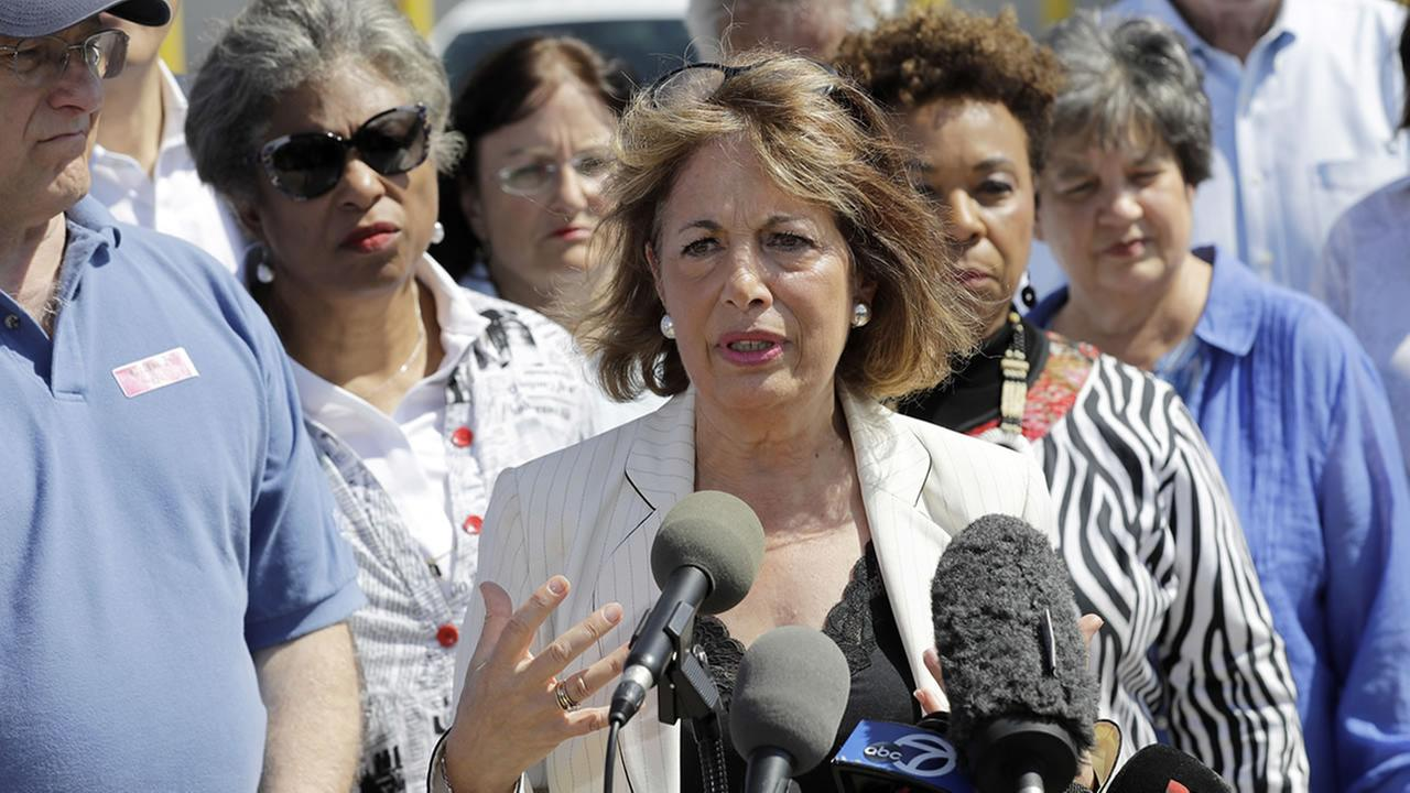 Rep. Jackie Speier, D-Calif., center, is joined by other members of Congress as she speaks after the group toured the U.S. Border Patrol Central Processing Center Saturday, June 23, 2018, in McAllen, Texas. (AP Photo/David J. Phillip)