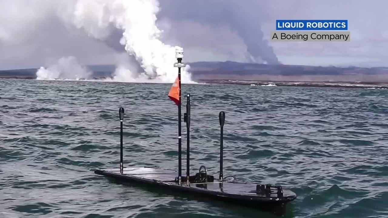 An oceangoing Wave Glider drone is pictured in this photo from Liquid Robotics.