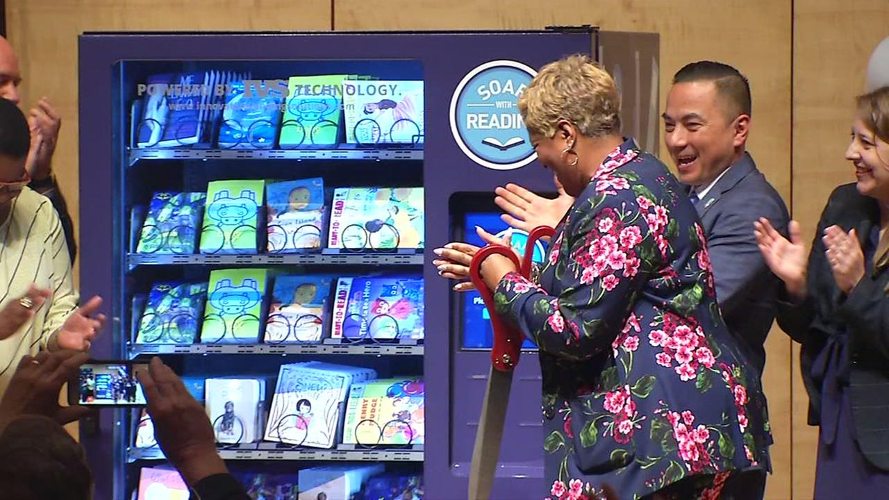 A vending machine is unveiled in San Francisco for JetBlues latest charity effort on Wednesday, June 27, 2018.