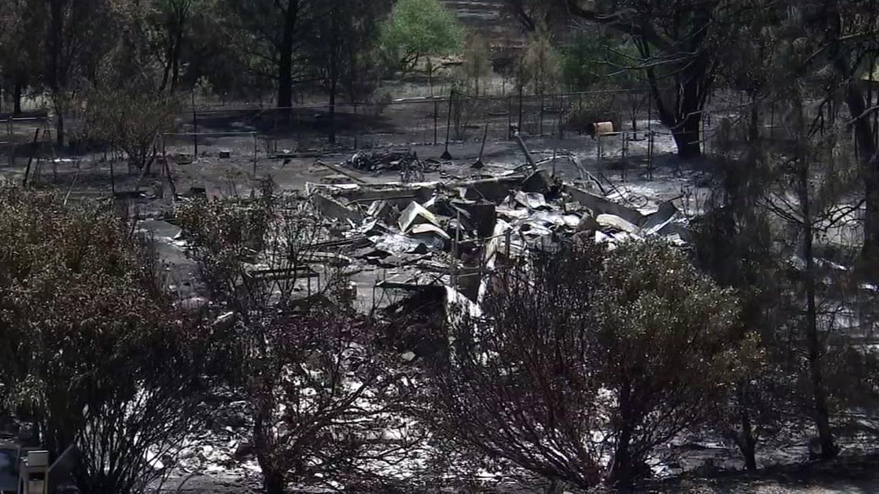 Damage from the Pawnee fire appears in Lake County, Calif. on Wednesday, June 27, 2018.