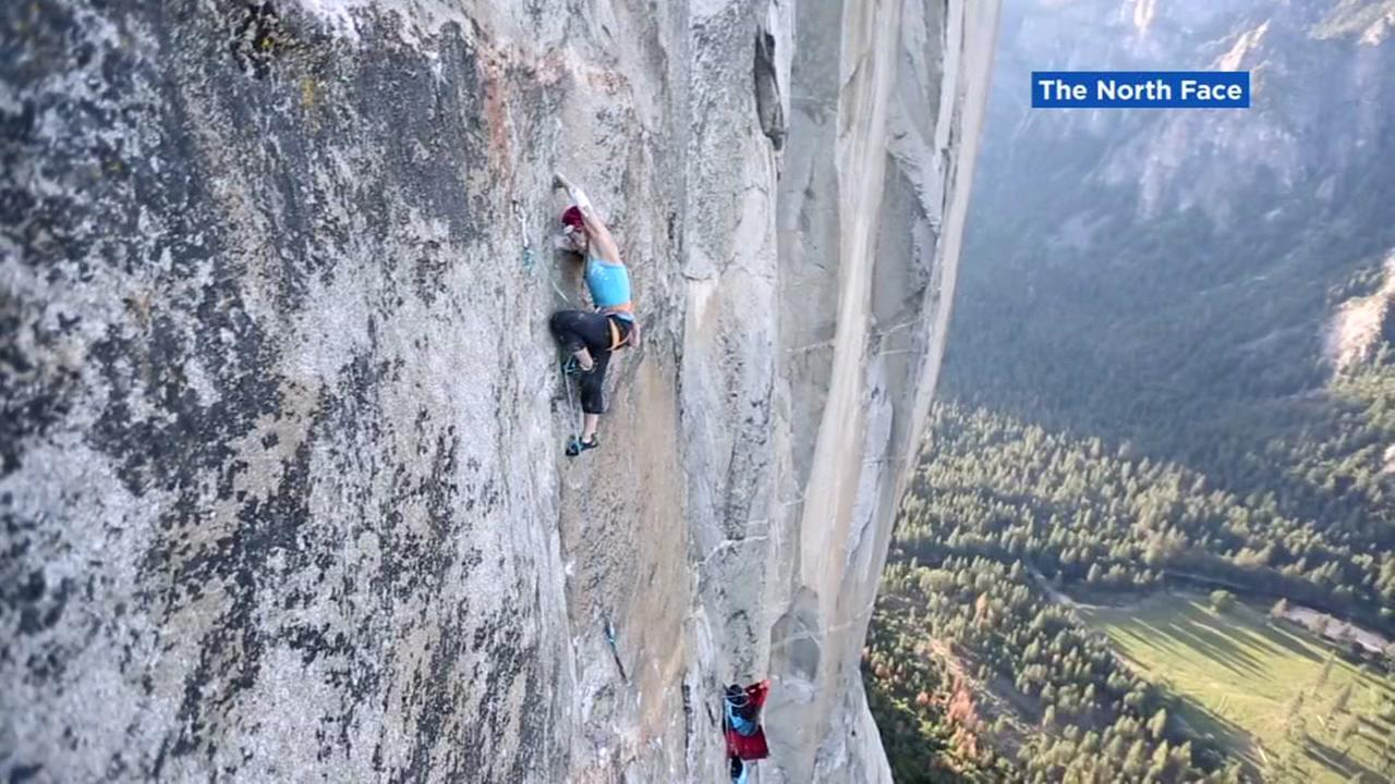 Hilaree Nelson and Emily Harrington climb a mountain in this image shared by The North Face.