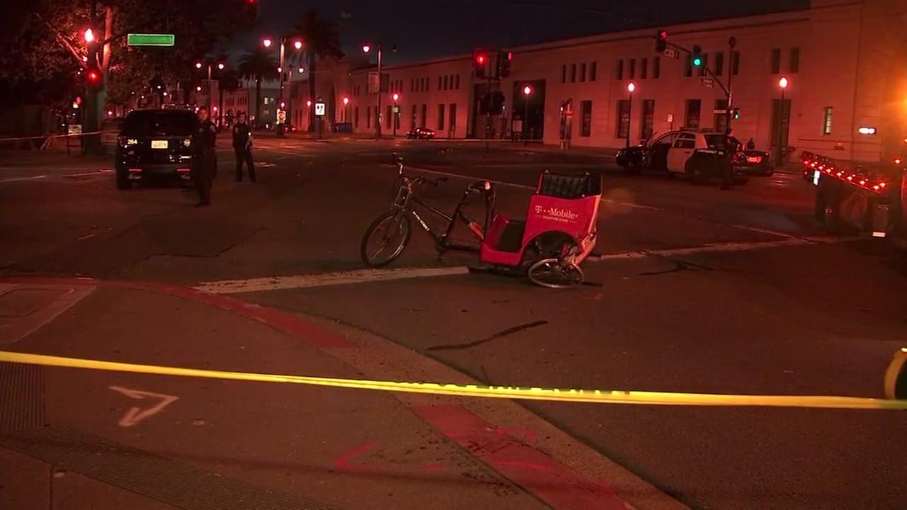 Police investigate a pedicab crash in San Francisco on Wednesday, June 27, 2018.