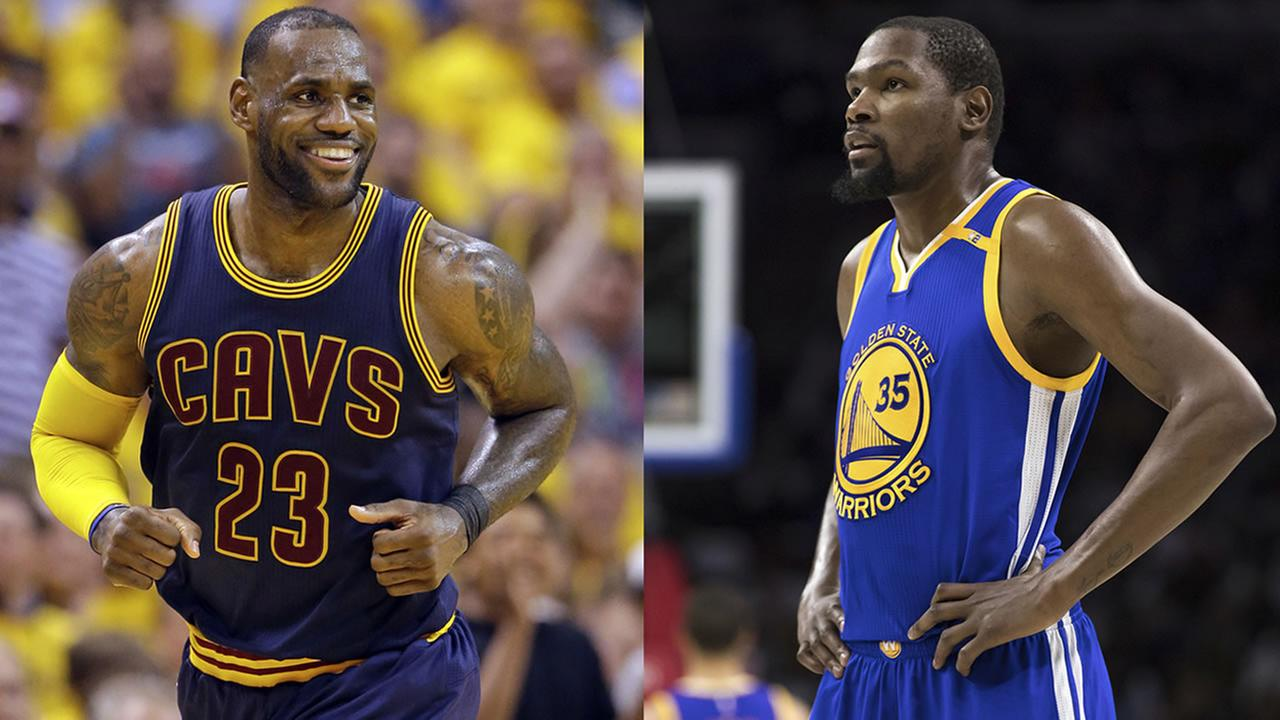 Cleveland Cavaliers forward LeBron James and Golden State Warriors Kevin Durant are seen in these file photos.
