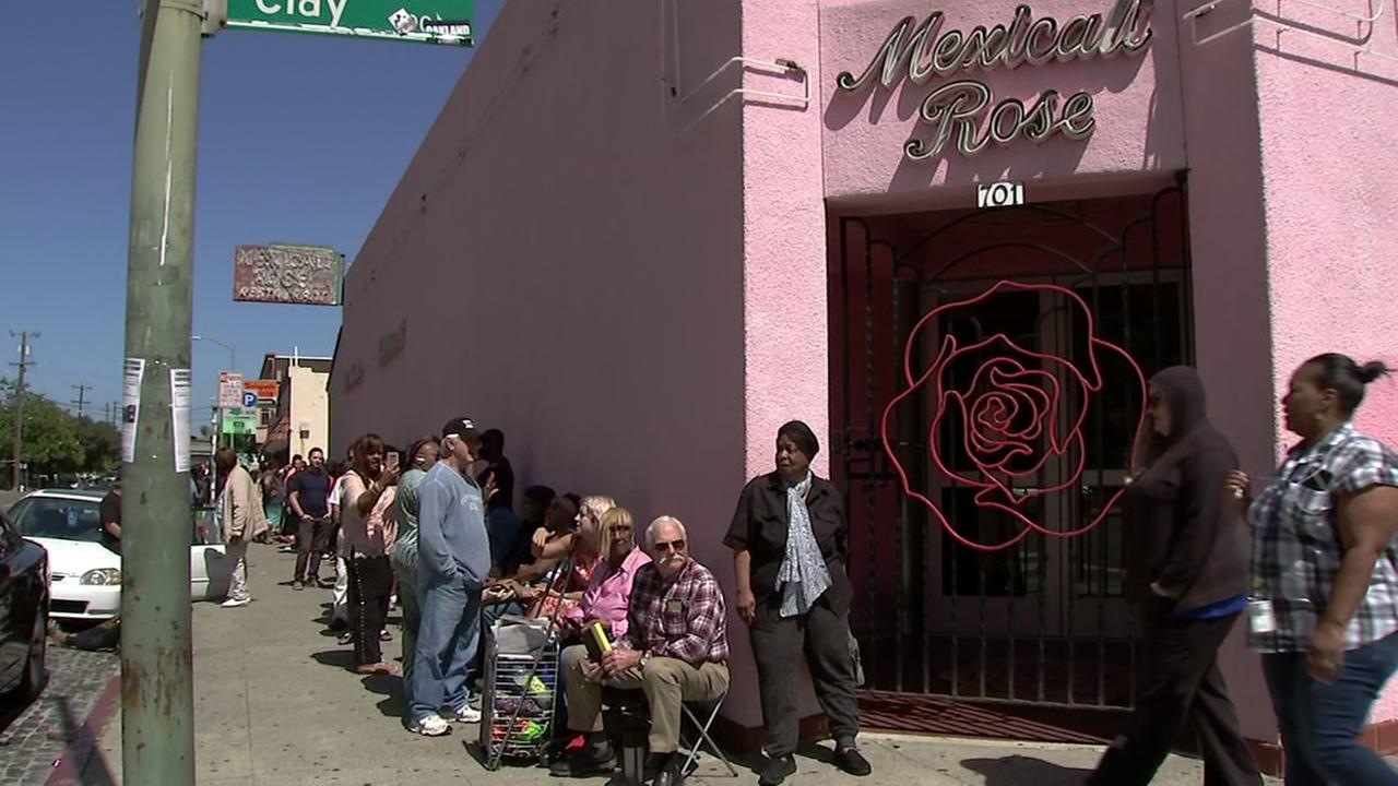 A line of customers waits outside Mexicali Rose in Oakland, Calif. on Thursday, June 28, 2018.