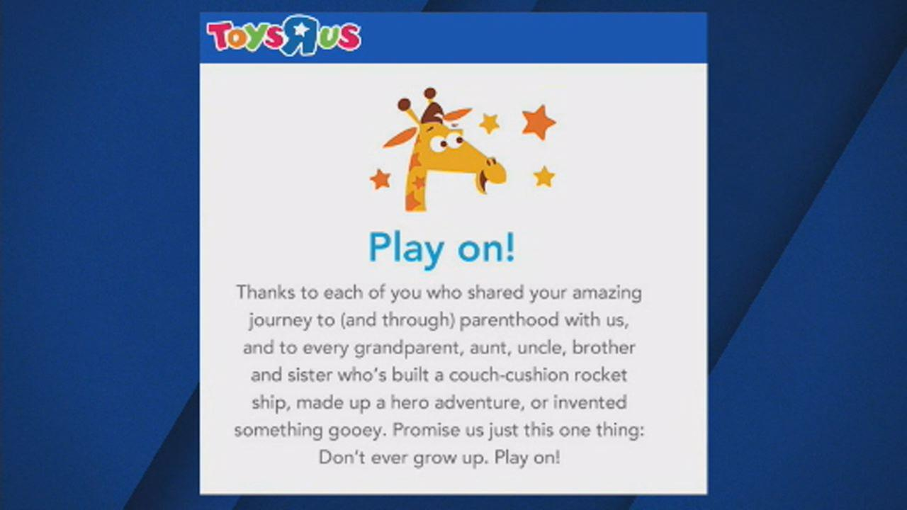 This undated image shows heartfelt goodbye message posted on Toys R Us website.