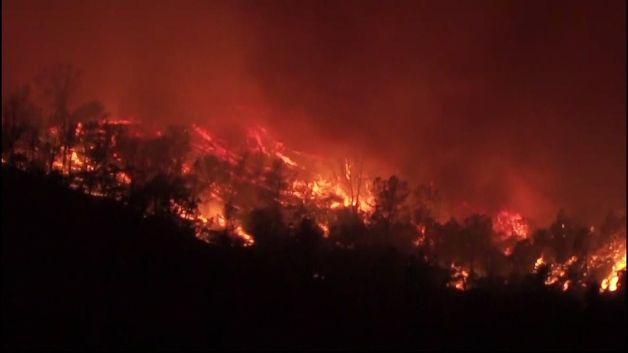A fire in Yolo County, Calif., burns on June 30, 2018.
