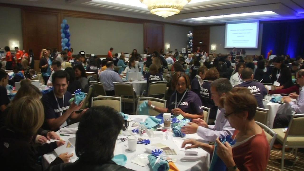 McKesson employees gather to create Comfort Kits for Bay Area cancer patients