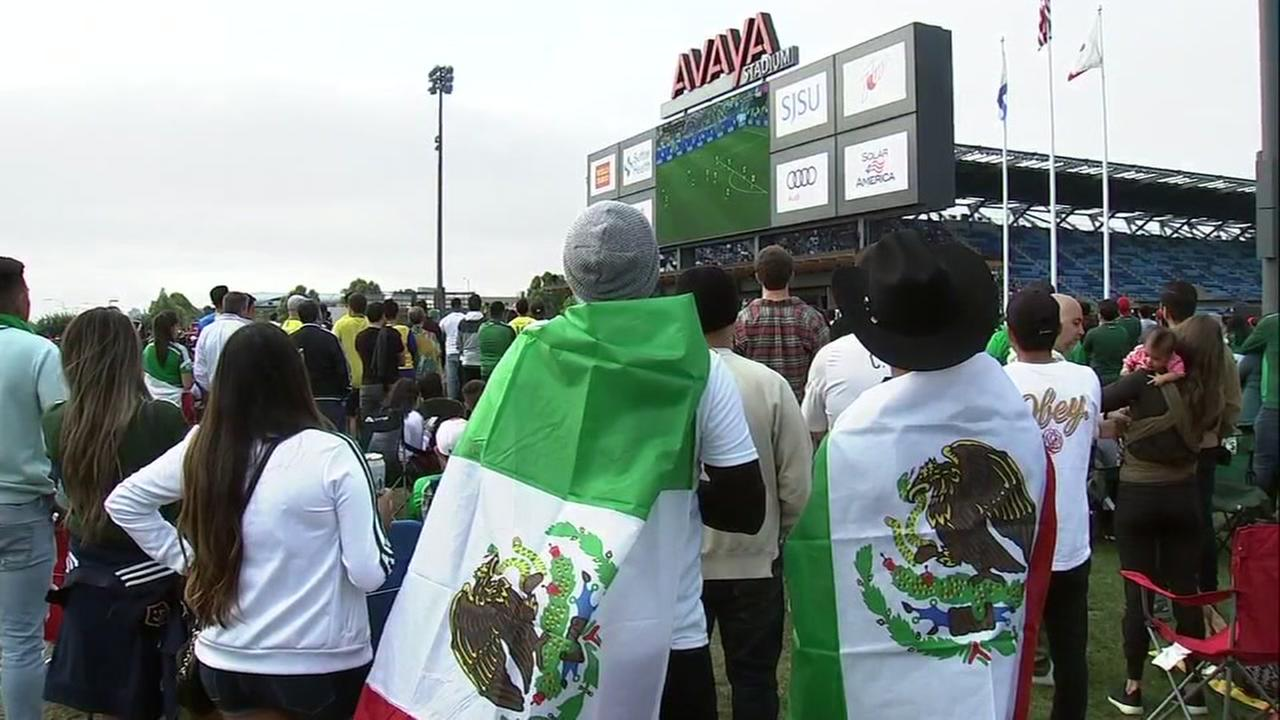 Mexico fans watch the World Cup game at Avaya Stadium in San Jose, Calif. on Monday, July 2, 2018.