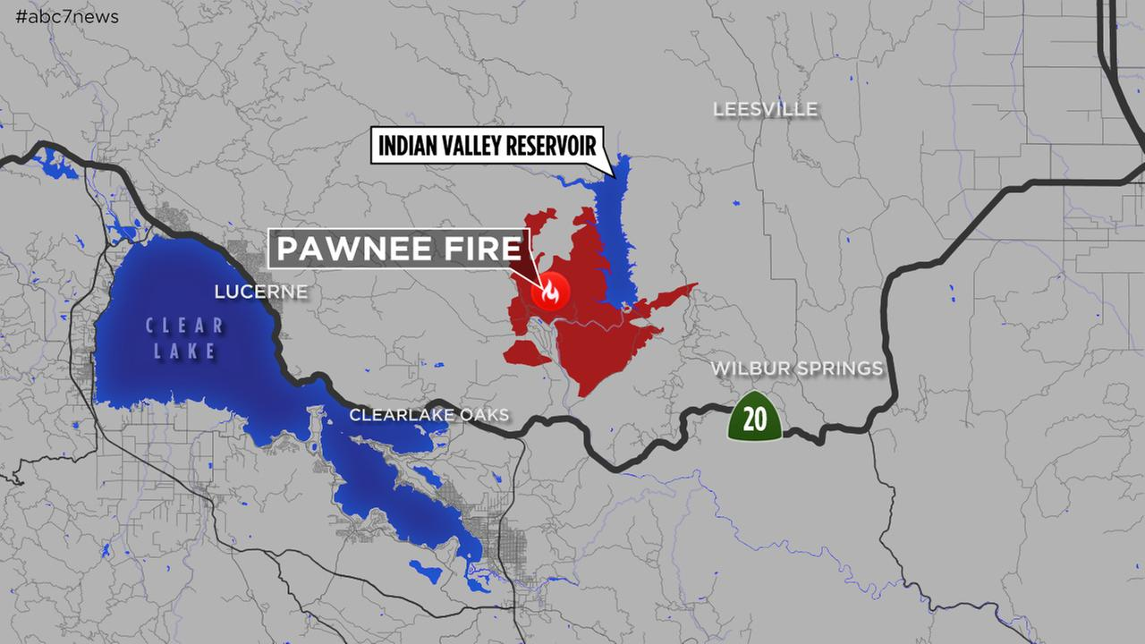 This updated map of the Pawnee Fire in Lake County, Calif. was created on July 2, 2018.