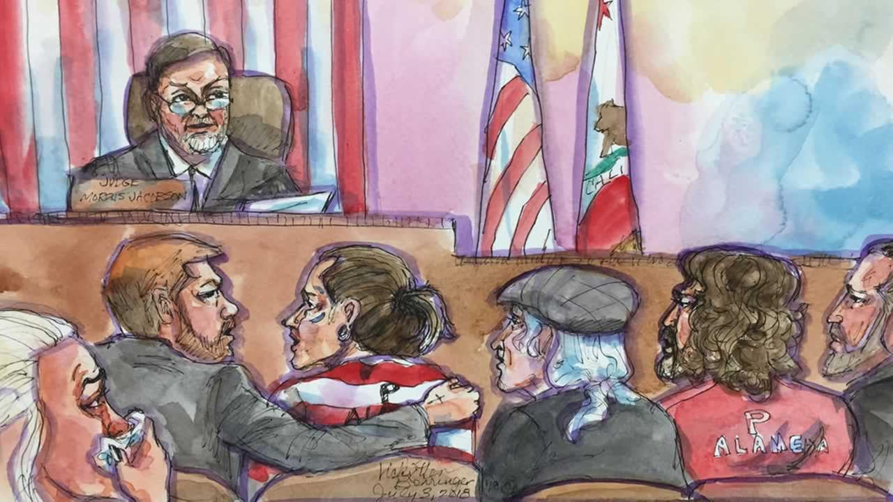 Sketches show the courtroom where a plea deal was reached for the defendants in the deadly Ghost Ship fire case on Tuesday, July 3, 2018.