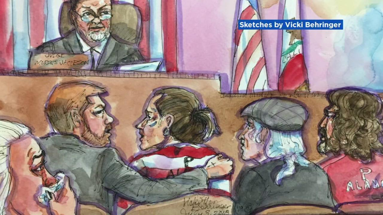 This courtroom sketch shows the proceedings of the plea hearing in the Ghost Ship fire case on Tuesday, July 3, 2018.