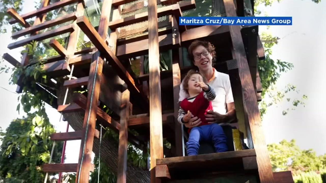 A San Jose family appears in their treehouse in this undated image obtained from the Bay Area News Group.