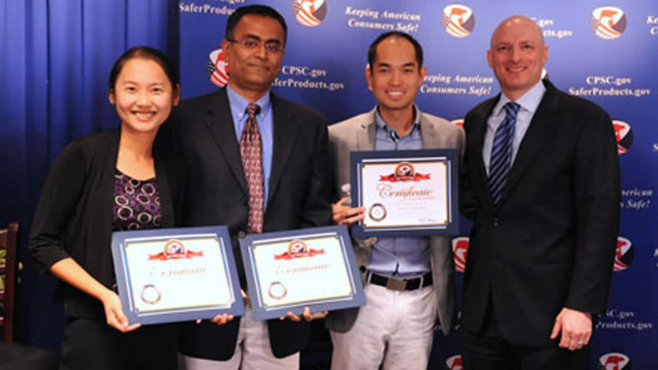 CPSC Chairman Elliot Kaye presented three of the four App Challenge winners with their certificates and monetary award on October 27, 2014. (Photo courtesy CPSC)
