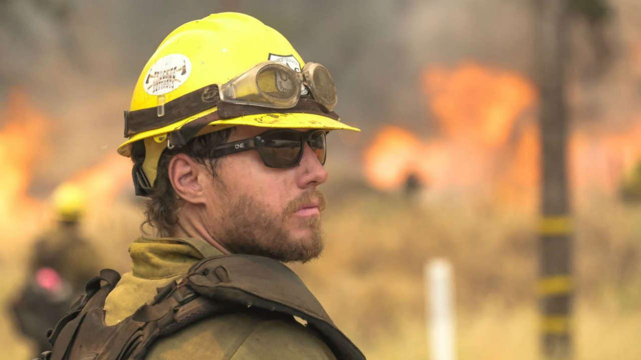 A firefighter is seen on the front line of the County Fire in Napa County in this undated image.