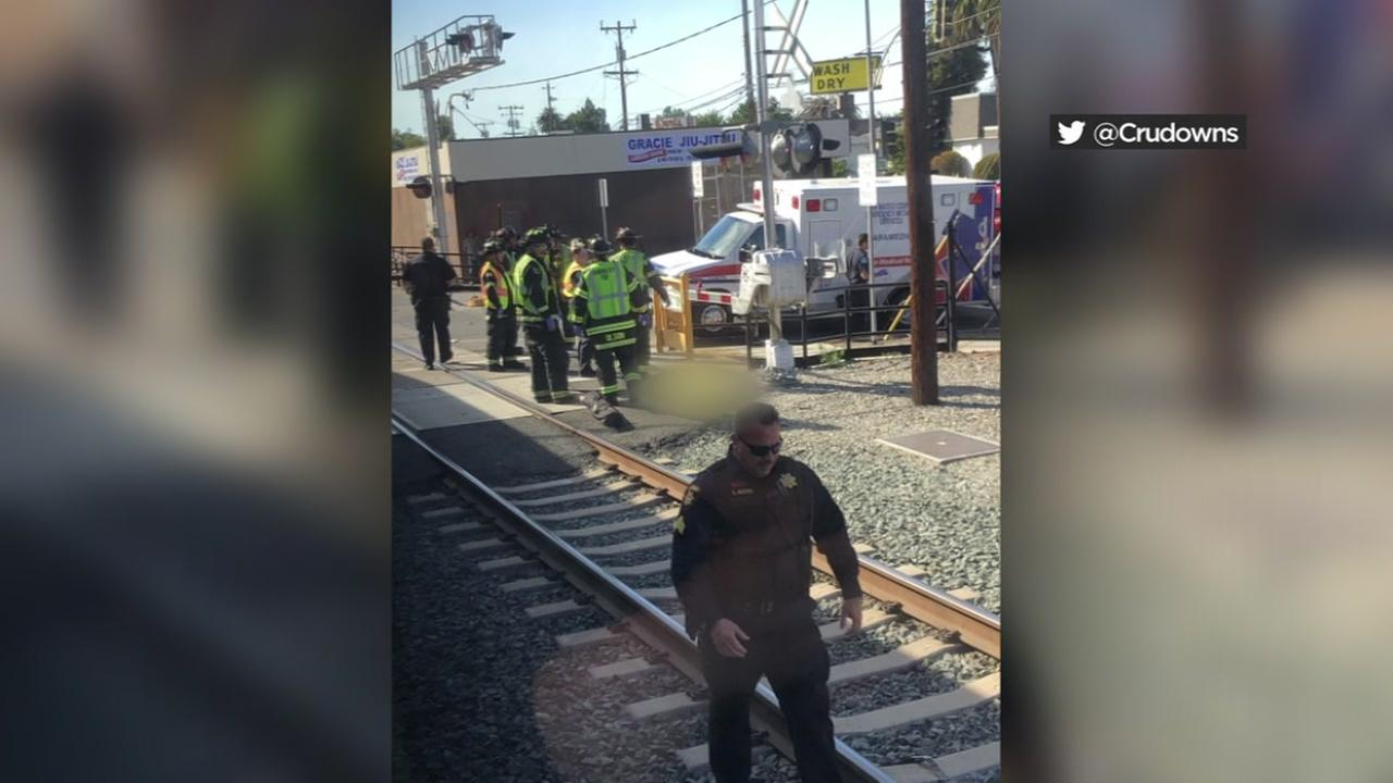 A person was fatally struck by a Caltrain train in Redwood City, Calif. on Thursday, July 5, 2018.
