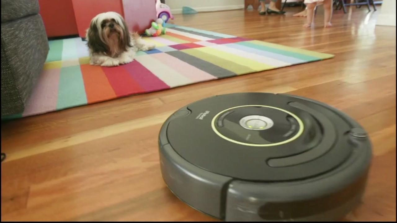 A robotic vacuum cleans up as the family dog watches.