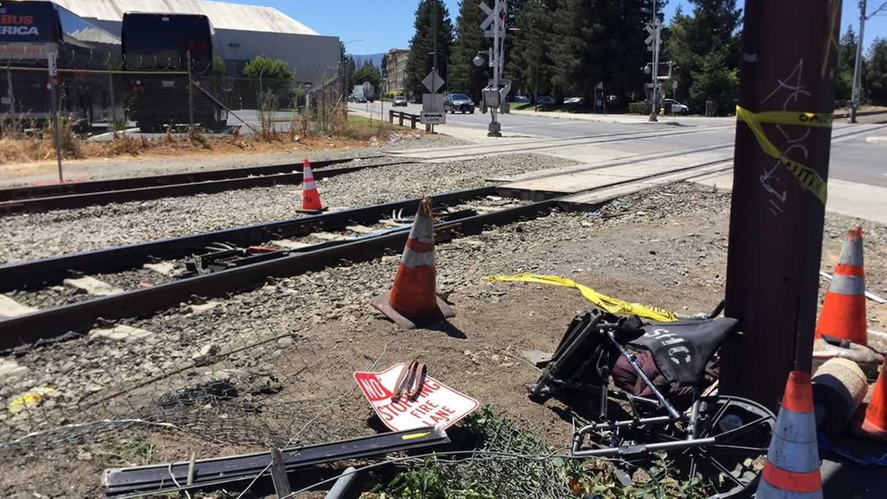 The aftermath of a collision between a VTA train and a car is pictured in San Jose, Calif. on Monday, July 9, 2018.
