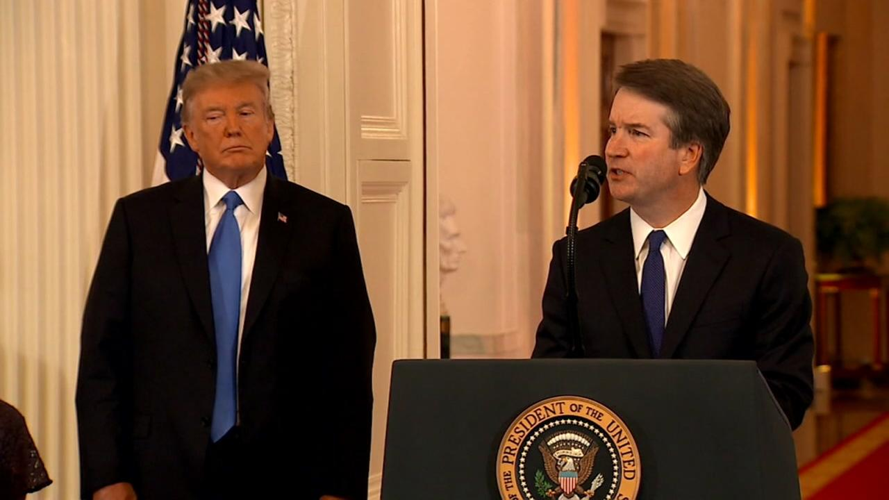 President Donald Trump and his SCOTUS nominee, Brett Kavanaugh appear at the White House on Monday, July 9, 2018.