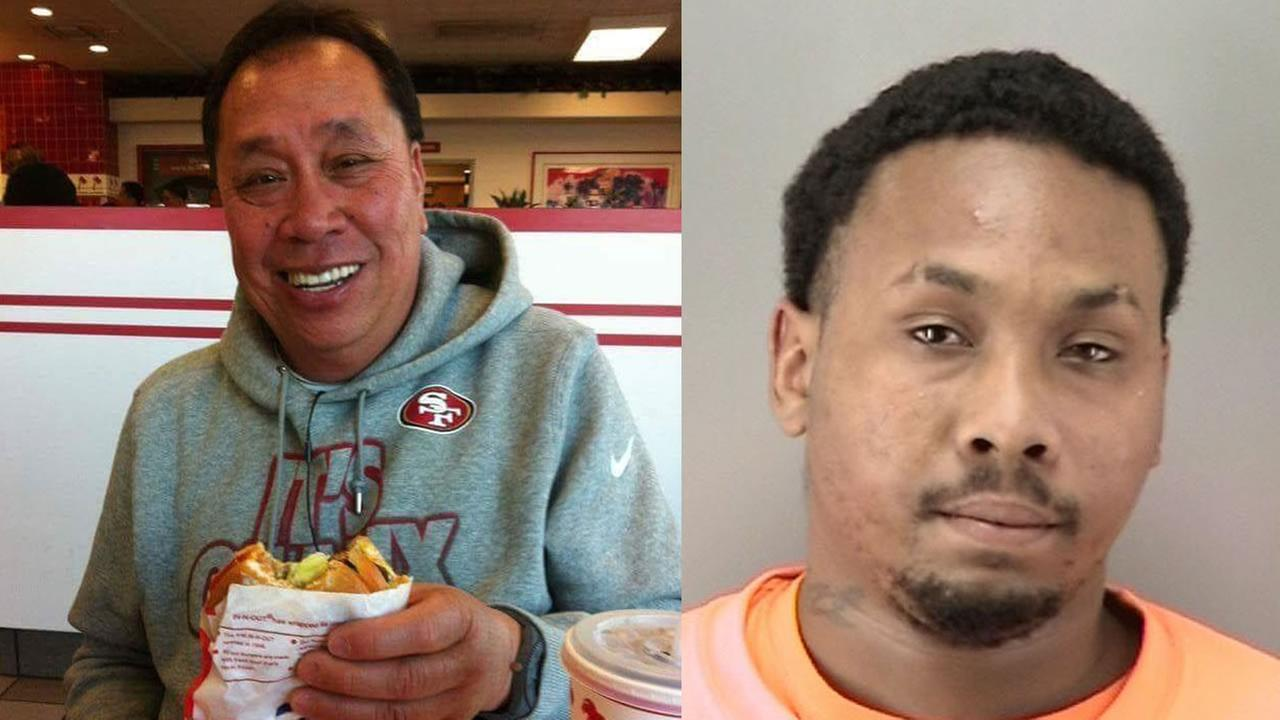 Rolando Romero is pictured, left, next to a mugshot of the suspect, Cardell Mason Coleman, right.