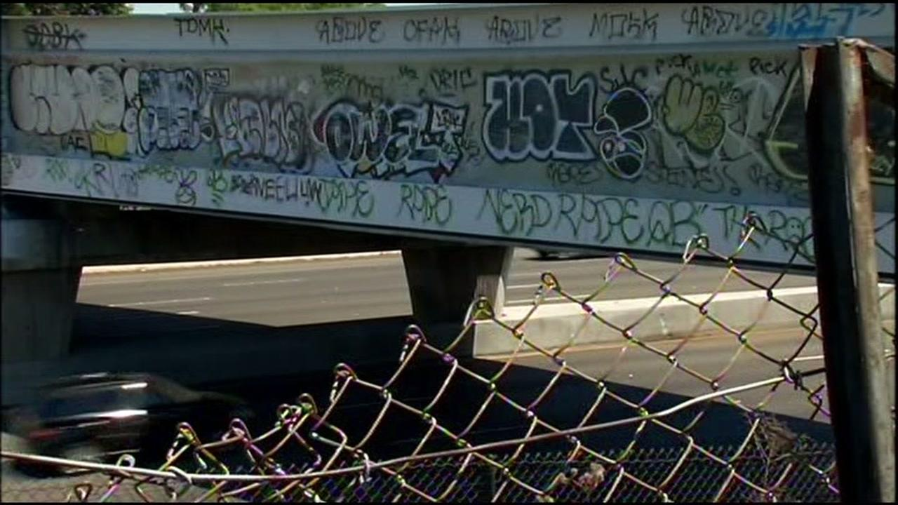Graffiti appears on a Bay Area bridge in this undated image.