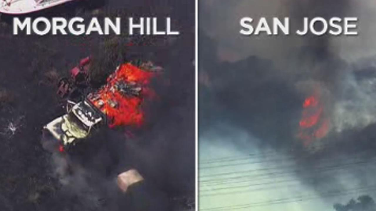 Two fires burn in Morgan Hill, Calif. and San Jose, Calif. on Tuesday, July 10, 2018.
