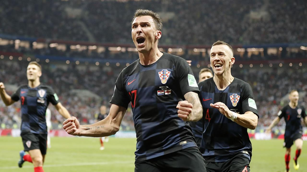 Croatias Mario Mandzukic celebrates during the semifinal match between Croatia and England in Moscow, Russia, Wednesday, July 11, 2018.
