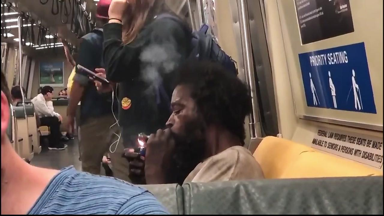 This image is taken from video by ABC7s Reggie Aqui, who caught a man doing drugs no a BART train in San Francisco on June 30, 2018.