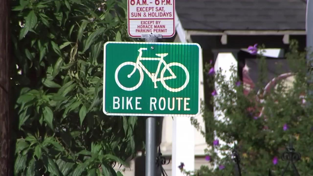 A bike lane sign appears in San Jose, Calif. on Wednesday, July 11, 2018.