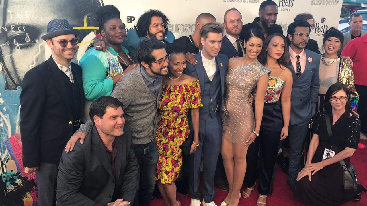 The cast of Blindspotting poses for a photo at their Oakland, Calif.