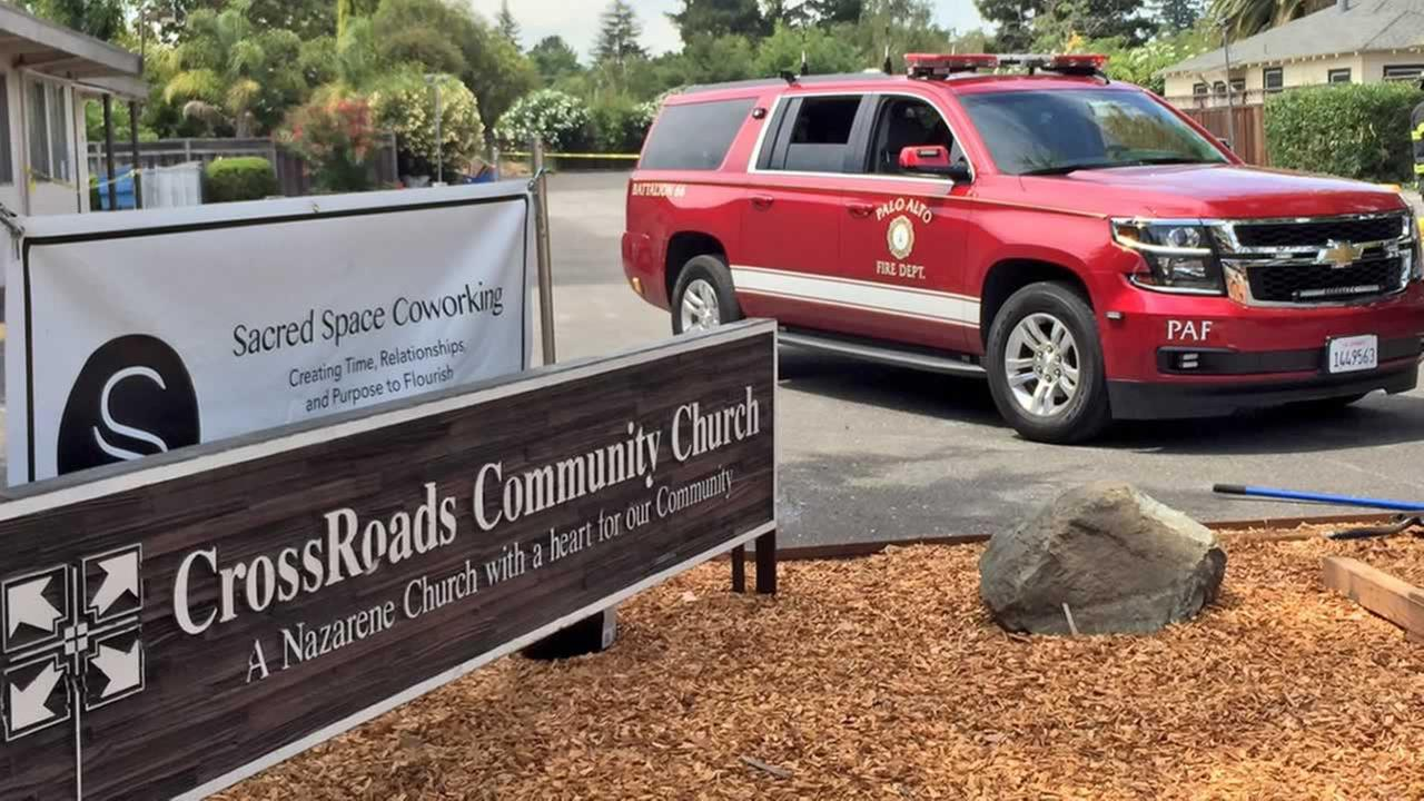 A person was killed in a worksite accident in the parking lot of a church in Palo Alto, Calif. on Thursday, July 12, 2018.