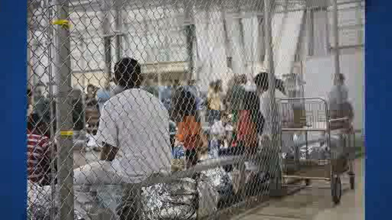 This image shows people whove been taken into custody related to cases of illegal entry into the U.S. at a facility in McAllen, Texas on June 17, 2018.