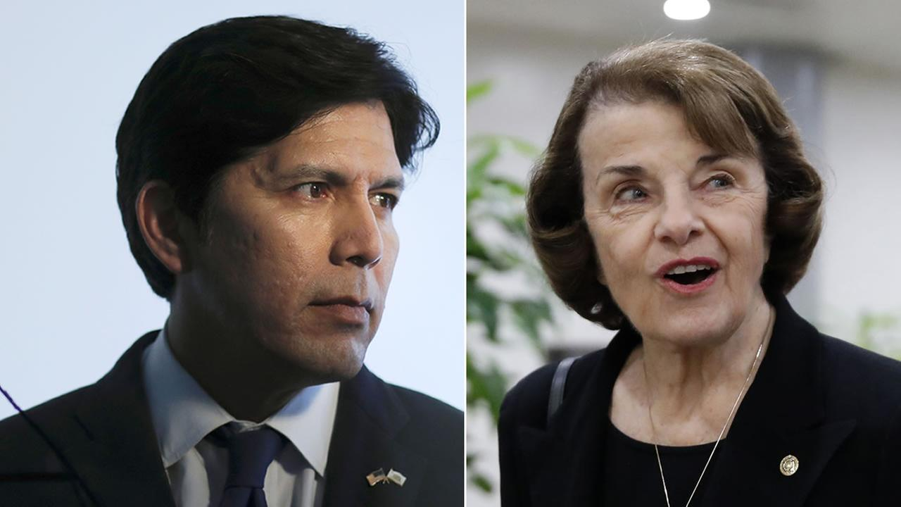 Kevin de Leon is pictured next to Sen. Dianne Feinstein.