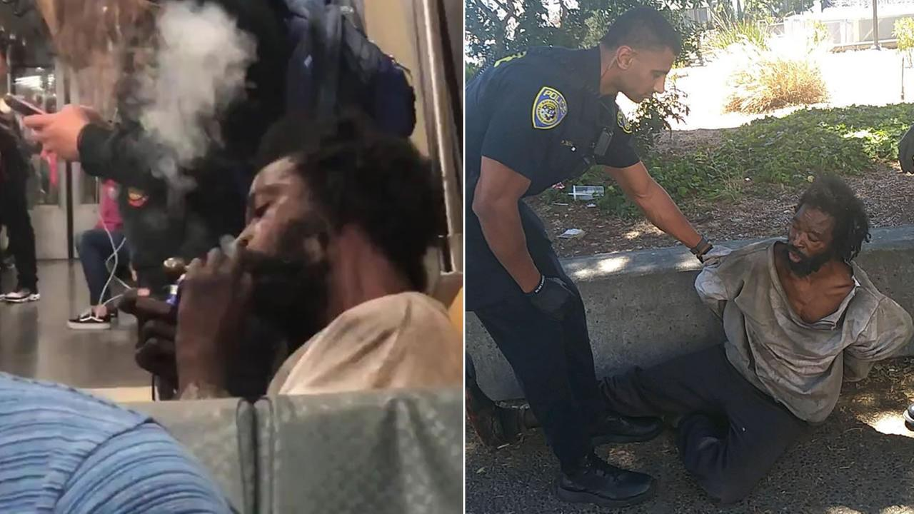 Oakland resident Tracy Daniels, 42, is pictured smoking meth on a BART train, left, and during in incident involving police officers, right.