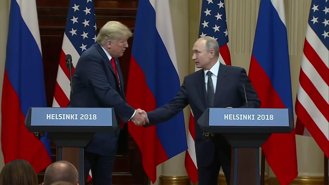 President Donald Trump and Vladimir Putin shake hands in Helsinki, Finland on Monday, July 16, 2018.