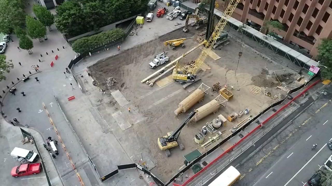 DRONEVIEW7 was over the building site of a 20-story condominium complex on the waterfront in San Francisco on Tuesday, July 17, 2018.