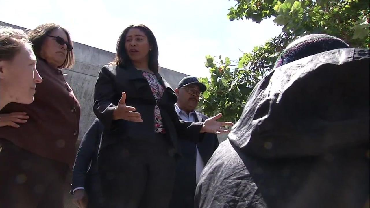 San Francisco Mayor London Breed is seen touring a homeless encampment on Tuesday, July 17, 2018.