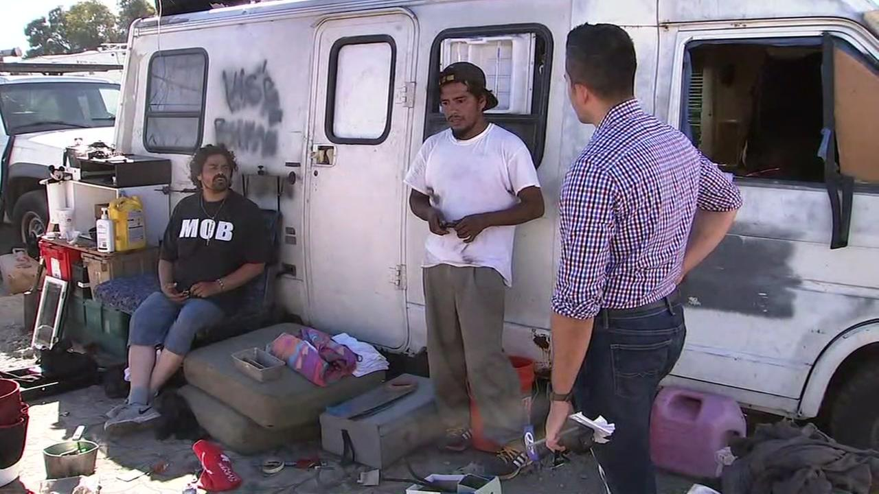 Two men who live in a Palo Alto RV speak with ABC7 News reporter Carlos Saucedo on Tuesday, July 17, 2018.