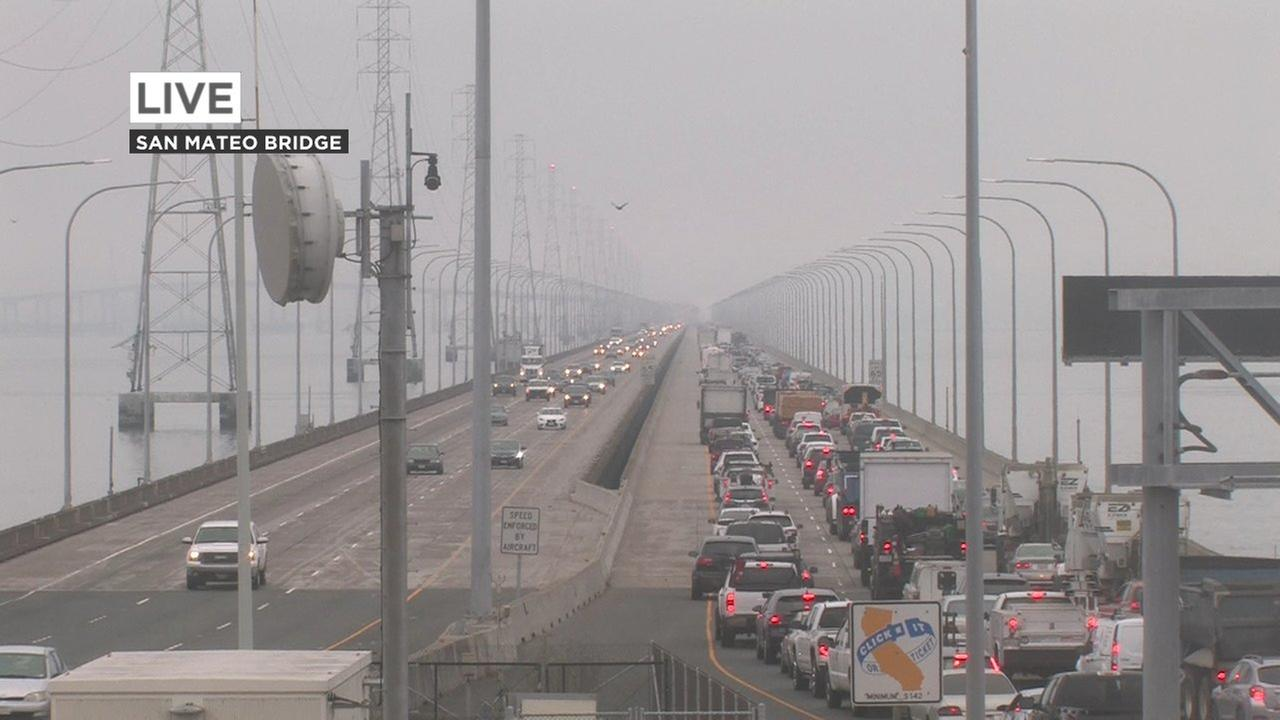 Traffic on the San Mateo Bridge on Wednesday, July 18, 2018.
