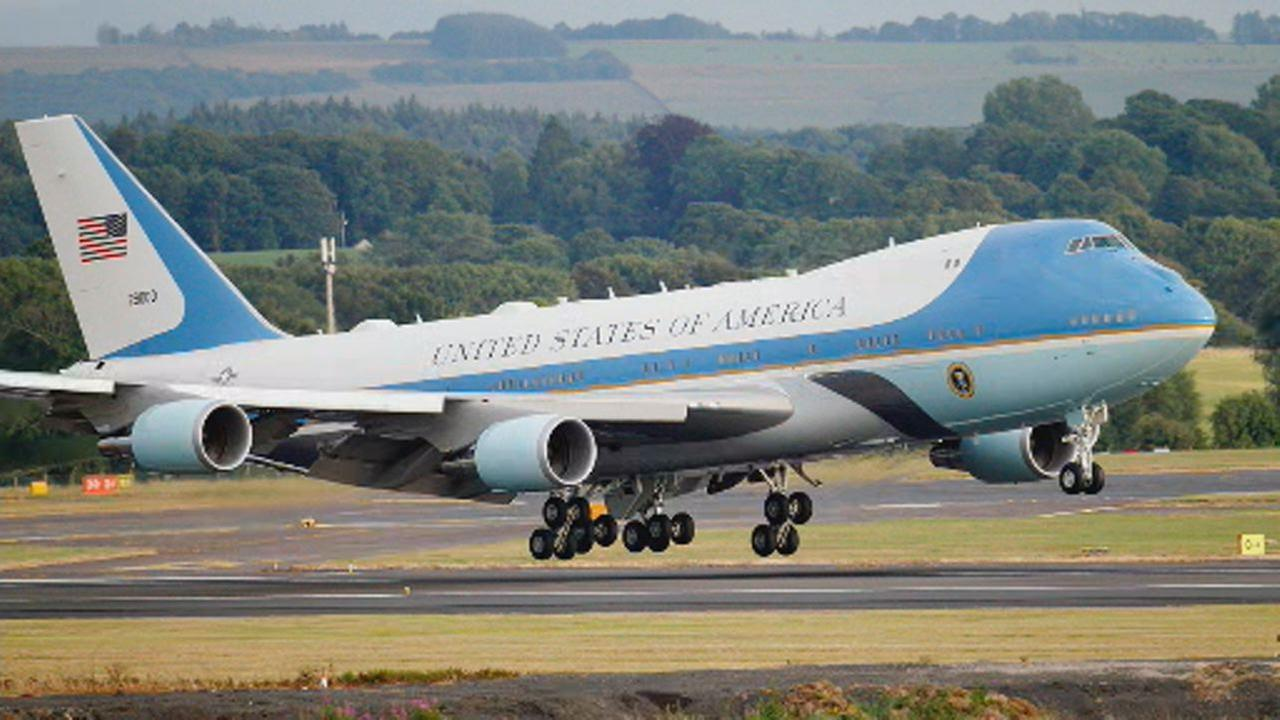 This image shows Air Force One with U.S. President Donald Trump and first lady Melania Trump at Prestwick Airport, Scotland on July 13, 2018.