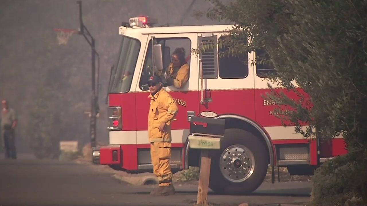 Firefighters work to contain the North Bay firestorm in this file image.