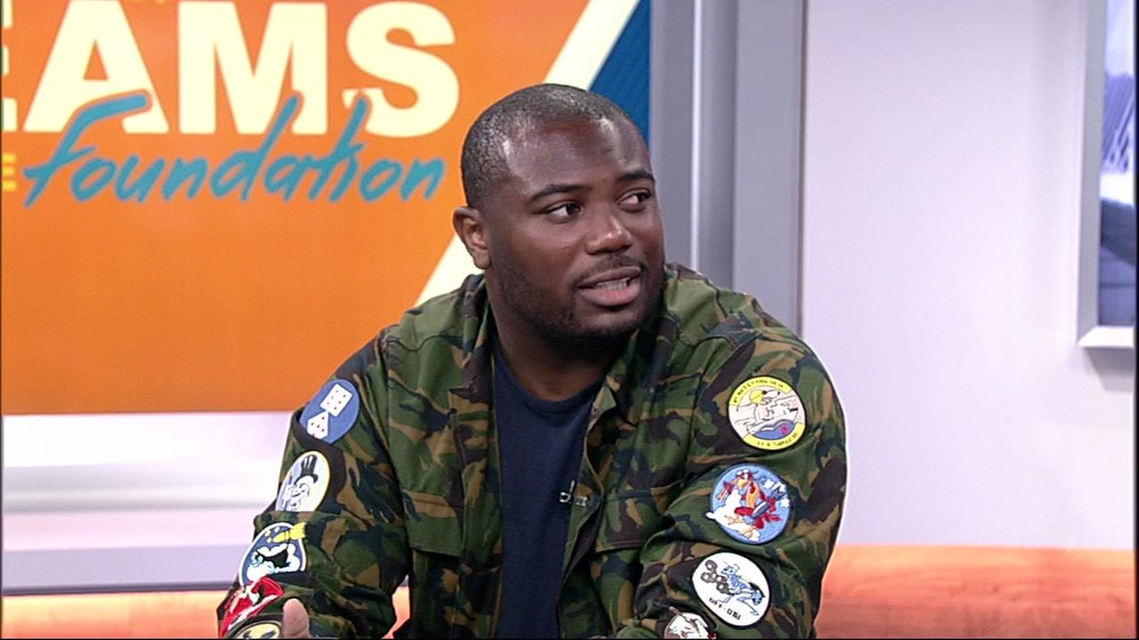 Carolina Panthers running back CJ Anderson in the ABC7 studio in San Francisco on July 19, 2018.