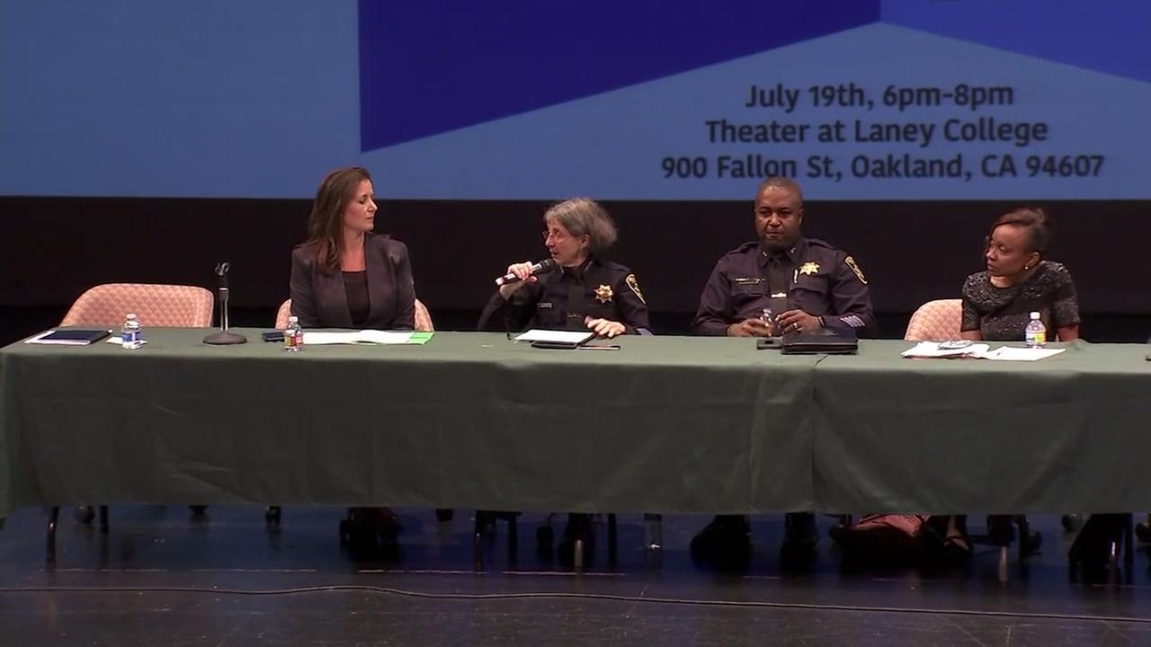 Officials meet in Oakland, Calif. for a town hall meeting on racial profiling on Thursday, July 19, 2018.