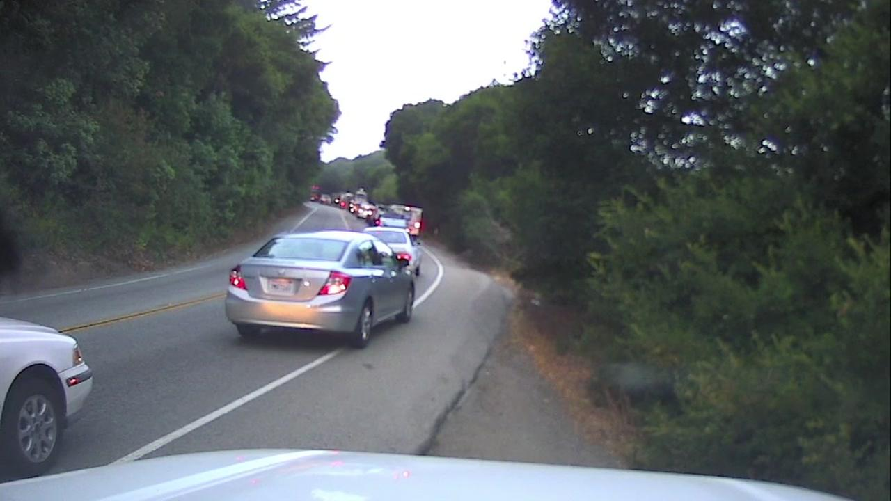 Traffic backup on Highway 92 in San Mateo, California on Friday, July 20, 2018.