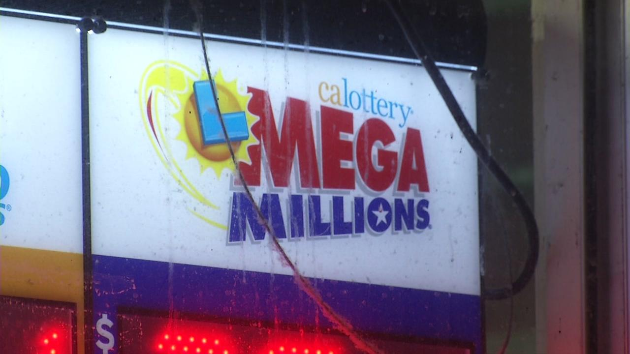 A sign advertising the Mega Millions lottery appears in this undated image.