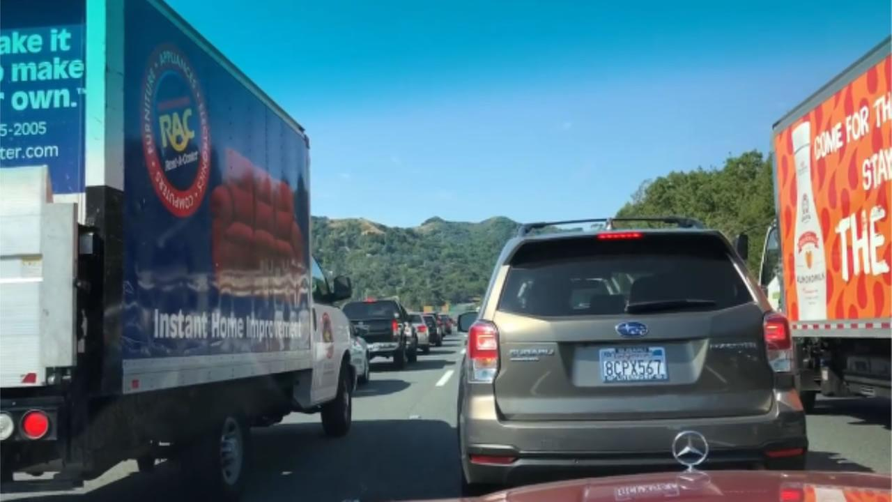 A major traffic backup is seen on westbound Highway 24 in Orinda after a crash on Saturday, July 21, 2018.