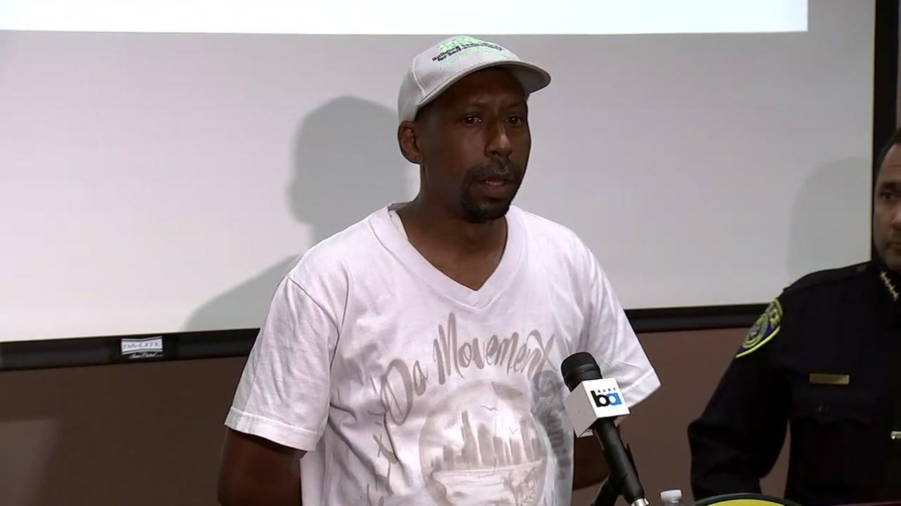 Daryle Hallums, the godfather of 18-year-old Nia Wilson, speaks at a press conference in Oakland, Calif. on Monday, July 23, 2018.