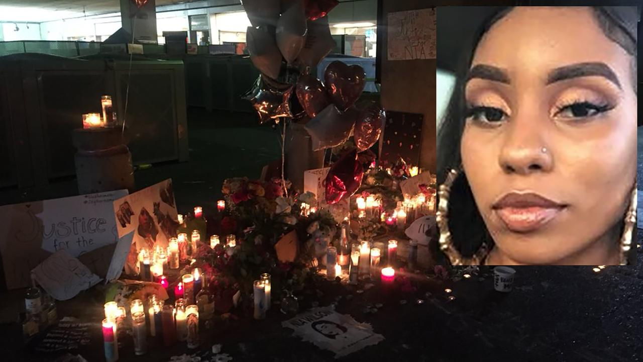 Memorial for Nia Wilson at MacArthur BART station in Oakland, California on Tuesday, July 24, 2018.