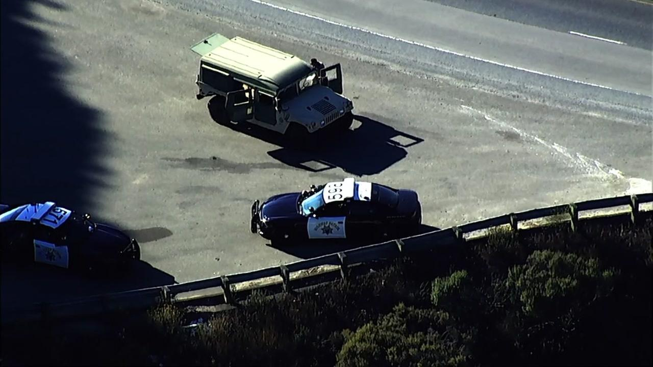 SKY7 is over the scene as the CHP pull over an AWOL soldier who took a Humvee from Fort Hunter Liggett in Redwood City, Calif. on Tuesday, July 24, 2018.