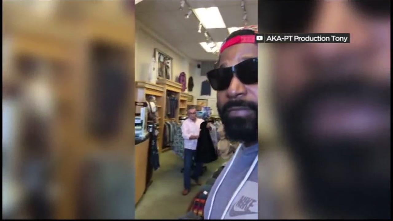 A Bay Area man takes video of an incident at Quest Casuals in Sausalito, Calif.
